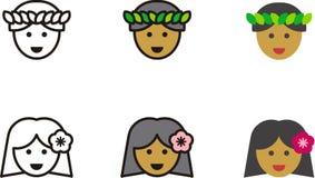 HAWAIIAN man and woman icons Royalty Free Stock Image