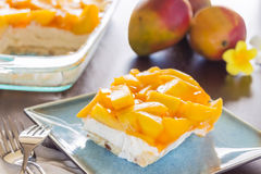 Hawaiian Mango Jello Cheesecake. Decadent cheesecake topped with fresh mango and orange jello with macadamia nut crust Royalty Free Stock Images
