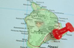 Hawaiian map. Closeup of a map of Hawaii with a red pin in the Big Island Stock Images