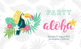 Hawaiian party banner template. With Aloha lettering, toucan, flowers and tropical leaves. Vector illustration. Typographic design for placard, flyer, poster Stock Photo