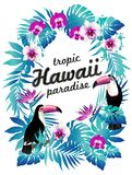 Hawaiian party poster. Vector illustration of tropical birds, flowers, leaves. Stock Photos