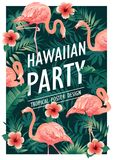 Hawaiian party. Vector illustration of tropical birds, flowers, leaves. Vector illustration. Hawaiian party. Vector illustration of tropical birds, flowers Royalty Free Stock Photos