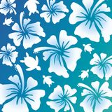 Hawaiian Pattern - blue green gradation Royalty Free Stock Photos