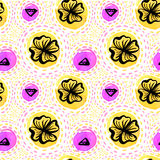 Hawaiian pattern with hand drawn ink flowers Stock Image