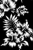 Hawaiian patterns, black and white tone. Stock Image
