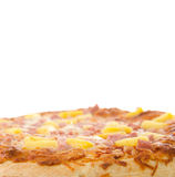 Hawaiian Pizza. A cooked hawaiian pizza with white copyspace above Royalty Free Stock Images