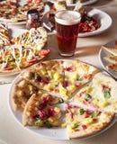 Hawaiian Pizza and Beer Stock Photos
