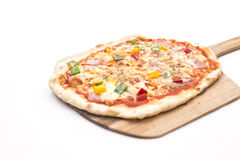 Hawaiian pizza is good enough to eat on the. White background stock photography