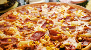 Hawaiian pizza. With ham and corn Royalty Free Stock Images