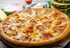 Hawaiian pizza2. Hawaiian pizza with ham and corn Stock Photography