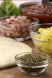 Hawaiian pizza ingredients Stock Photography
