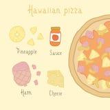 Hawaiian pizza ingredients. Vector EPS 10 hand drawn illustration royalty free stock image