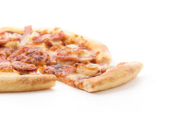 Hawaiian pizza. Isolated on white background Stock Photography