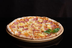 Hawaiian Pizza , pineapple , ham and cheese stock images