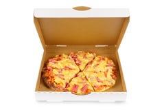 Hawaiian pizza, white box, front view, isolated. Hawaiian ham and pineapple pizza in plain open box Royalty Free Stock Photos
