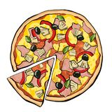Hawaiian pizza with slice vector illustration
