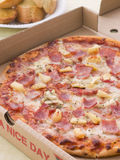 Hawaiian Pizza In A Take Away Box Stock Photography