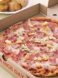 Hawaiian Pizza In A Take Away Box Stock Photography