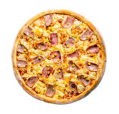 Hawaiian pizza top view. On white background Royalty Free Stock Images