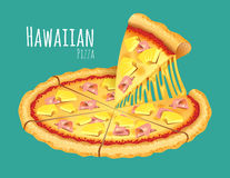 Hawaiian Pizza. A vector illustration of a cooked Hawaiian Pizza Royalty Free Stock Image