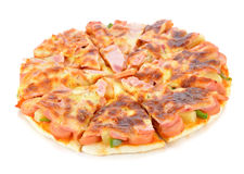 Hawaiian pizza. On white background Royalty Free Stock Images