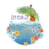 Hawaiian postcard royalty free illustration