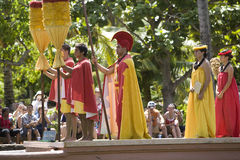 Hawaiian Royal Court on Canoe Royalty Free Stock Photography