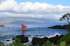 Hawaiian Sailing Boat. Old Hawaiian Sailing Boat with the West Stock Image
