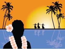 Hawaiian scenery. Vector illustration of a hawaiian scenery