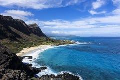 Hawaiian sea from a cliff, O`ahu, Hawaii stock image