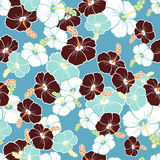 Hawaiian Seamless  Pattern with hibiscus flowers Stock Photos