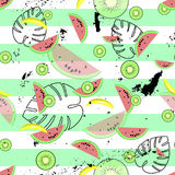 Hawaiian Seamless Pattern With Tropical Fruits And Plants Royalty Free Stock Photo