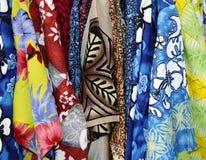 Hawaiian Shirts. Close up of Hanging Hawaiian Shirts in Hawaii Royalty Free Stock Photo