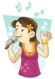 Hawaiian singer. Wearing flower necklace performing a song Royalty Free Stock Photography
