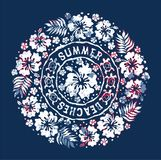 Hawaiian style badge with hibiscus flower and turtles. Vector vintage print for girl or woman t shirt grunge effect in separate layer Stock Image
