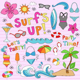Hawaiian Summer Tropical Vacation Doodles. Hawaiian Surf's Up Summer Psychedelic Groovy Notebook Doodle Design Elements Set on Pink Lined Sketchbook Paper royalty free illustration