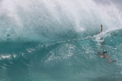 Hawaiian summertime  body surfing wave backwash Royalty Free Stock Photos