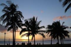 Hawaiian Sunset. Sunset in downtown Honolulu, Oahu Stock Photo