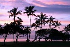 Sunset over Hawaii beach royalty free stock photography