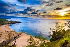 Hawaiian Sunset. A beautiful Hawaiian sunset from Oahu's North Shore stock image