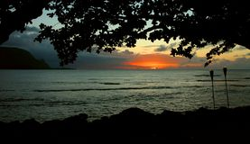 Hawaiian Sunset, Kauai Royalty Free Stock Image