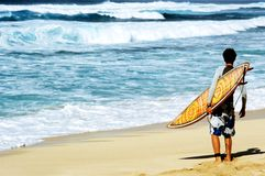 Hawaiian Surf. This image was taken on Oahu's North Shore and shows a surfer surveying the surf Royalty Free Stock Photos