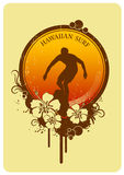 Hawaiian surf. Vintage surf insignia with hibiscus Royalty Free Stock Photography