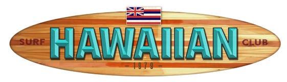 Hawaiian Surf Club Surfboard Sign. Longboard Wood Hawaii Flag Vintage Retro 1979 royalty free illustration