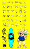 Hawaiian surfer kid cartoon expressions flowers love Stock Photo