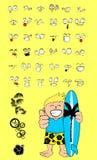 Hawaiian surfer kid cartoon expressions happy Stock Photography