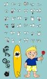 Hawaiian surfer kid cartoon expressions rose Stock Photos