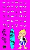 Hawaiian surfer kid cartoon expressions Stock Photos
