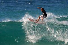 Hawaiian Surfer Tane Kaluhiokalani Surfing Royalty Free Stock Photography