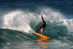 Hawaiian Surfer Tane Kaluhiokalani Surfing Stock Photography